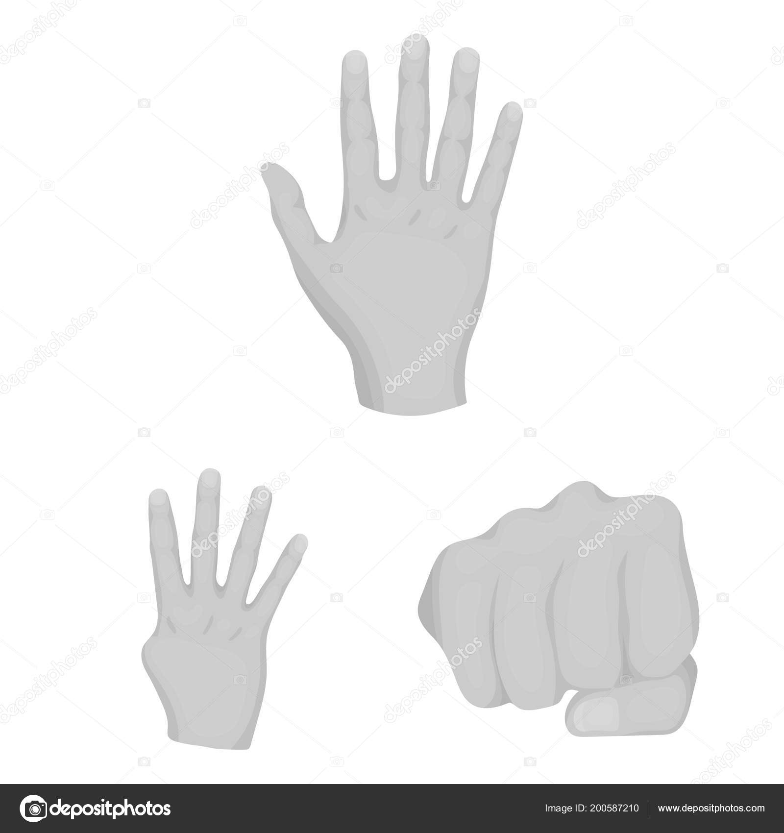 Hand Gesture Monochrome Icons In Set Collection For Design Palm And