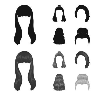Long, red and other types of hairstyles. Back hairstyle set collection icons in black,monochrome style vector symbol stock illustration web.