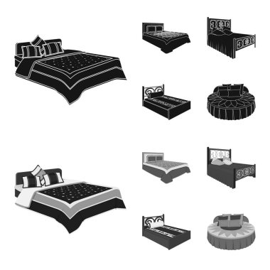 Different beds black,monochrome icons in set collection for design. Furniture for sleeping vector isometric symbol stock web illustration.