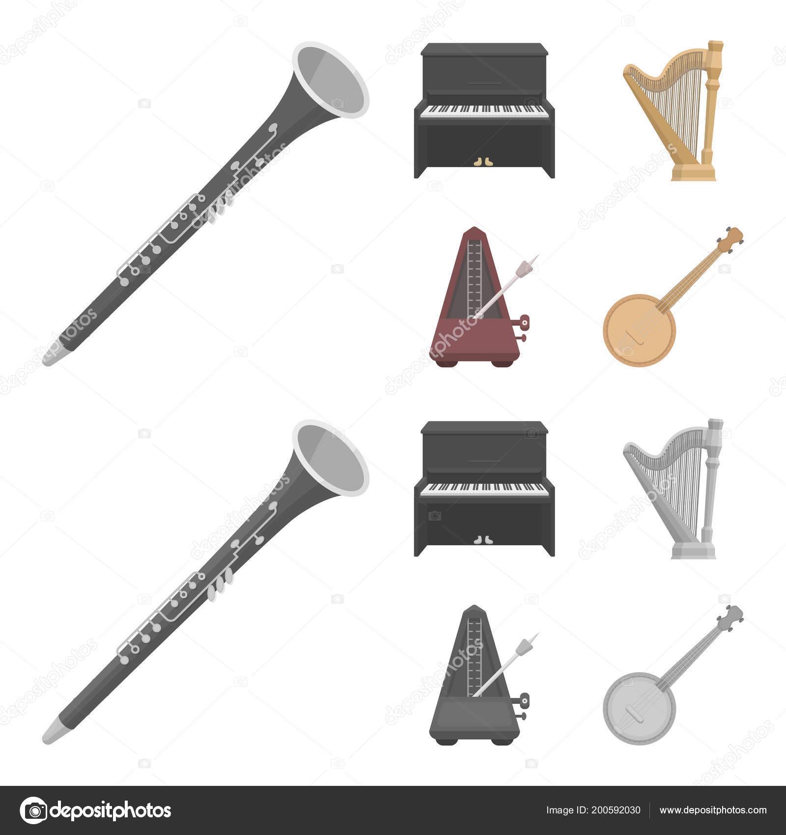 Banjo, piano, harp, metronome  Musical instruments set