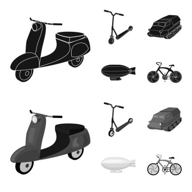 Motorcycle, scooter, armored personnel carrier, aerostat types of transport. Transport set collection icons in black,monochrome style vector symbol stock illustration web.