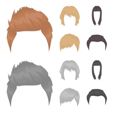 Mustache and beard, hairstyles cartoon,monochrome icons in set collection for design. Stylish haircut vector symbol stock web illustration.