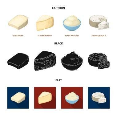 Gruyere, camembert, mascarpone, gorgonzola.Different types of cheese set collection icons in cartoon,black,flat style vector symbol stock illustration web.
