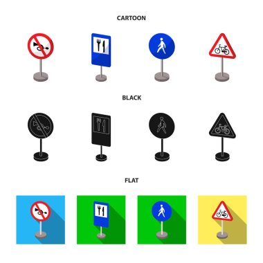 Different types of road signs cartoon,black,flat icons in set collection for design. Warning and prohibition signs vector symbol stock web illustration.