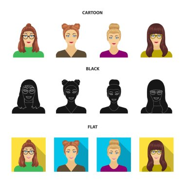 The face of a girl with glasses, a woman with a hairdo. Face and appearance set collection icons in cartoon,black,flat style vector symbol stock illustration web.