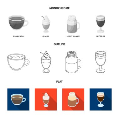Esprecco, glase, milk shake, bicerin.Different types of coffee set collection icons in flat,outline,monochrome style vector symbol stock illustration web.