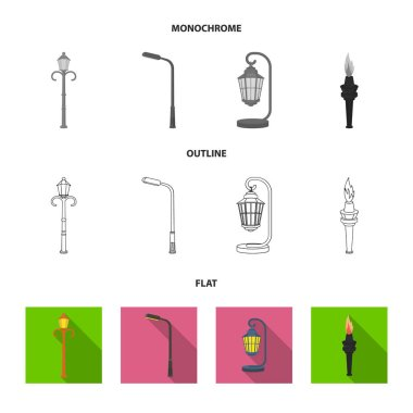 Lamppost in retro style,modern lantern, torch and other types of streetlights. Lamppost set collection icons in flat,outline,monochrome style vector symbol stock illustration web.