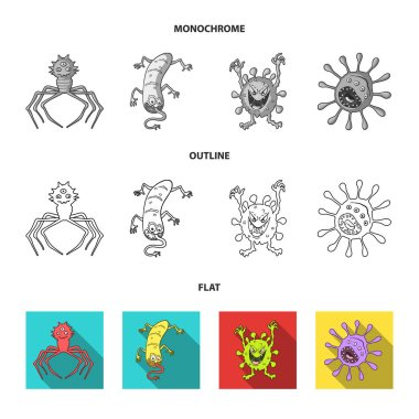 Different types of microbes and viruses. Viruses and bacteria set collection icons in flat,outline,monochrome style vector symbol stock illustration web.