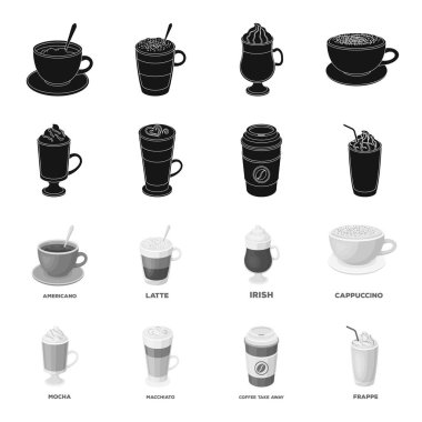 Mocha, macchiato, frappe, take coffee.Different types of coffee set collection icons in black,monochrome style vector symbol stock illustration web.