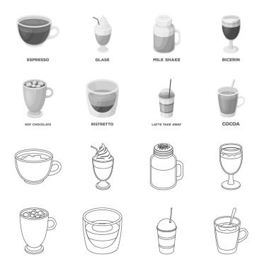 Ristretto, hot chocolate, latte take-away.Different types of coffee set collection icons in outline,monochrome style vector symbol stock illustration web.