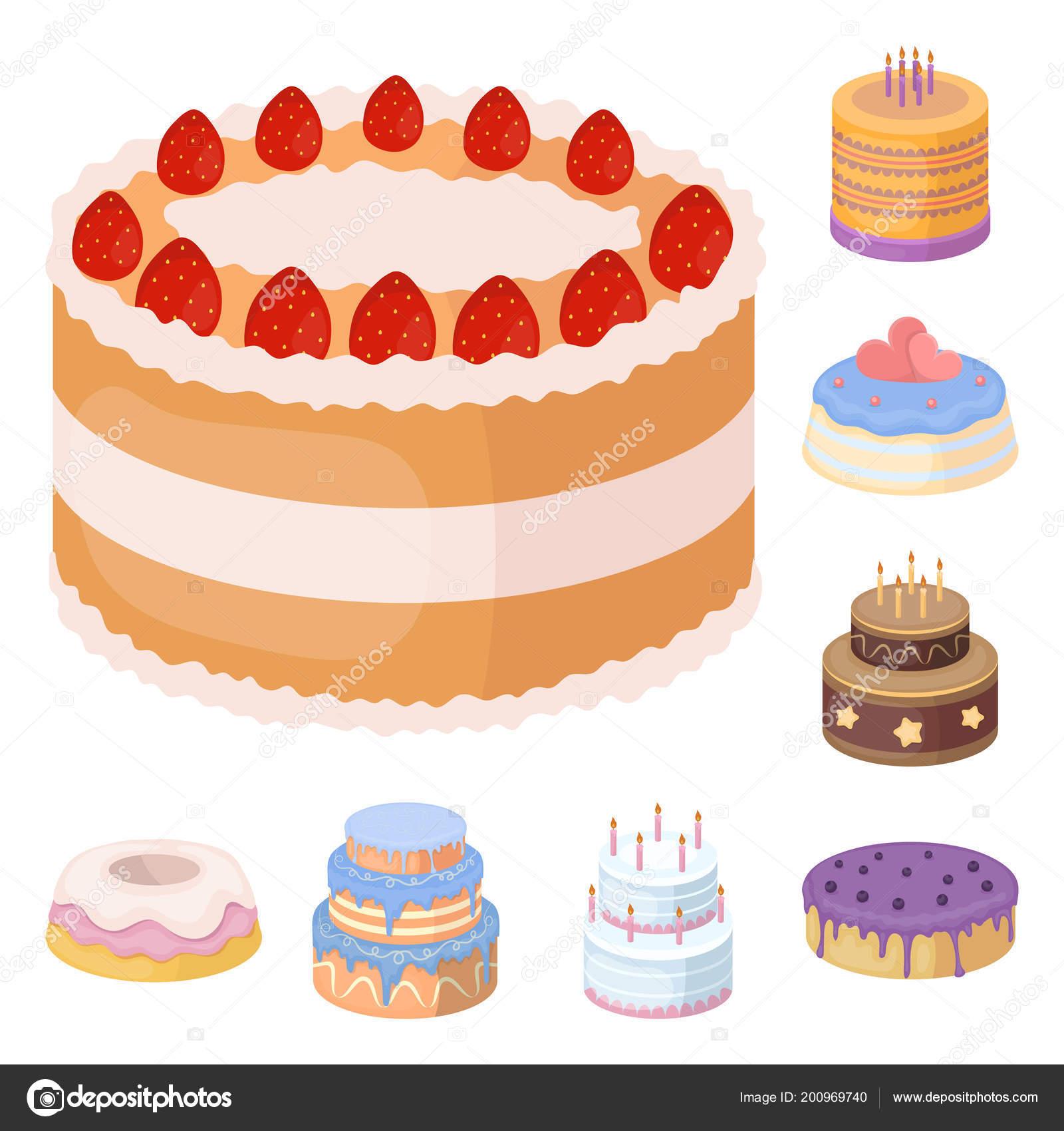 Kuchen Und Dessert Cartoon Symbole Im Set Sammlung Fur Design