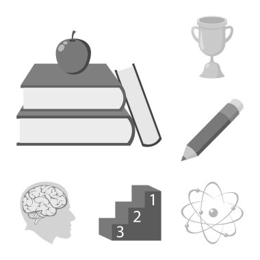 School and education monochrome icons in set collection for design.College, equipment and accessories vector symbol stock web illustration.