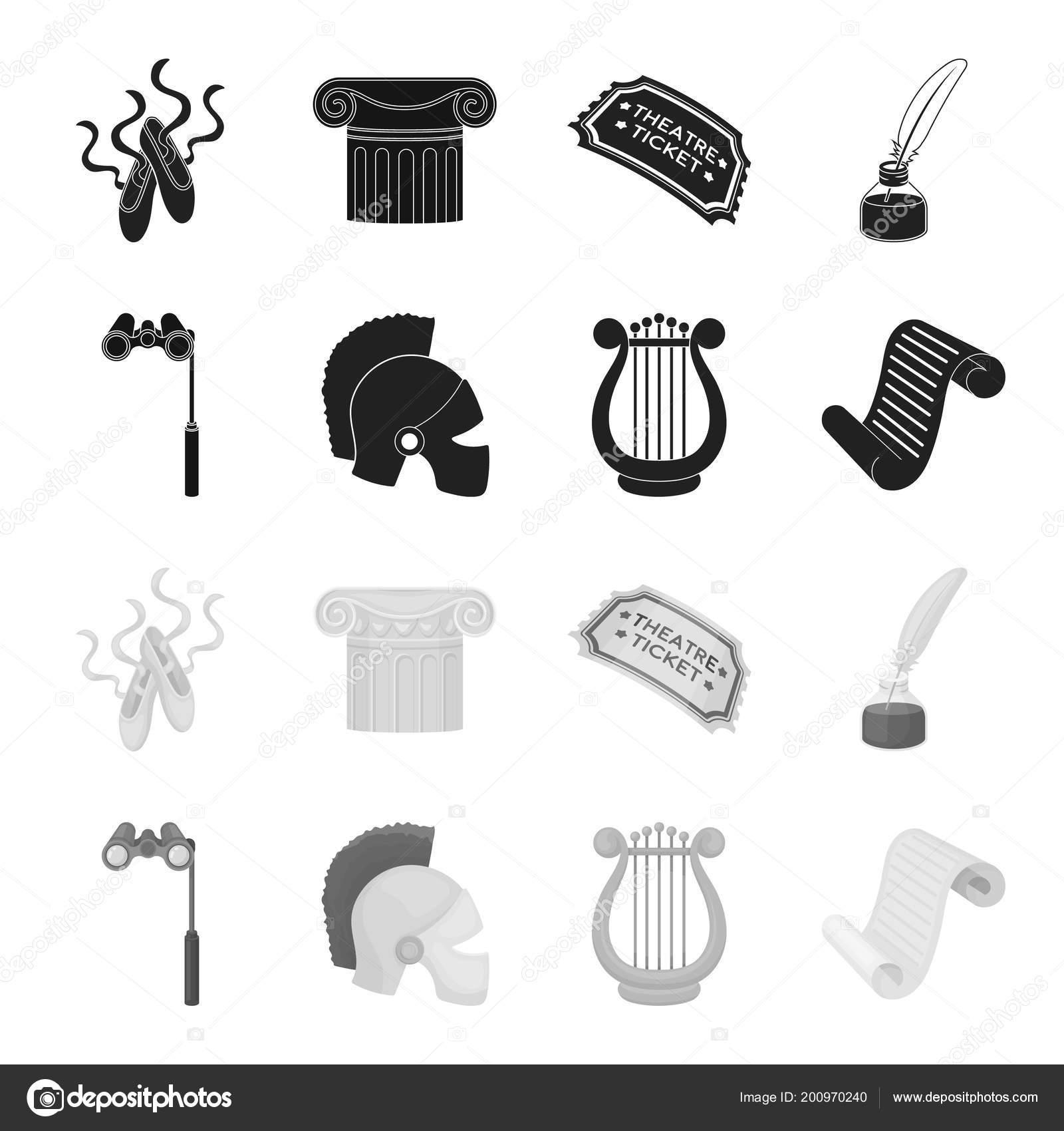 01adc3e1309e Színházi látcső, sisak, a hárfa és egy papír tekercset. A színház készlet  gyűjtemény ikonok-ban fekete, fekete-fehér stílus vektor szimbólum stock ...