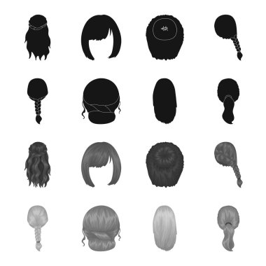 Light braid, fish tail and other types of hairstyles. Back hairstyle set collection icons in black,monochrome style vector symbol stock illustration web.