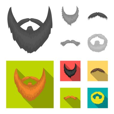Mustache and beard, hairstyles monochrome,flat icons in set collection for design. Stylish haircut vector symbol stock web illustration.