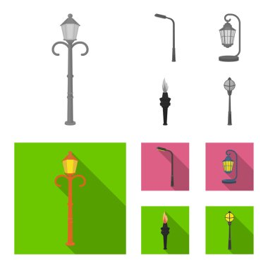Lamppost in retro style,modern lantern, torch and other types of streetlights. Lamppost set collection icons in monochrome,flat style vector symbol stock illustration web.