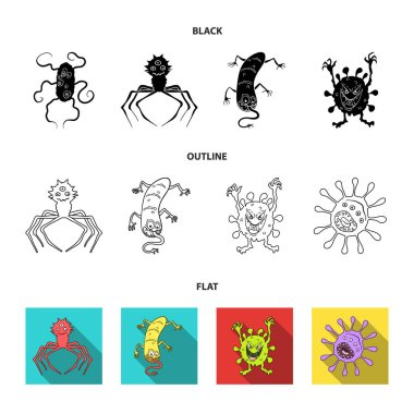 Different types of microbes and viruses. Viruses and bacteria set collection icons in black,flat,outline style vector symbol stock illustration web.