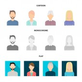 A man with a beard and mustache, a red-haired girl, an old woman, a blonde.Avatar set collection icons in cartoon,flat,monochrome style vector symbol stock illustration web.