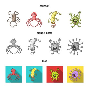 Different types of microbes and viruses. Viruses and bacteria set collection icons in cartoon,flat,monochrome style vector symbol stock illustration web.