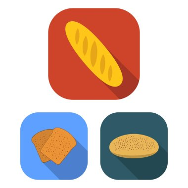 Types of bread flat icons in set collection for design. Bakery products vector symbol stock web illustration.
