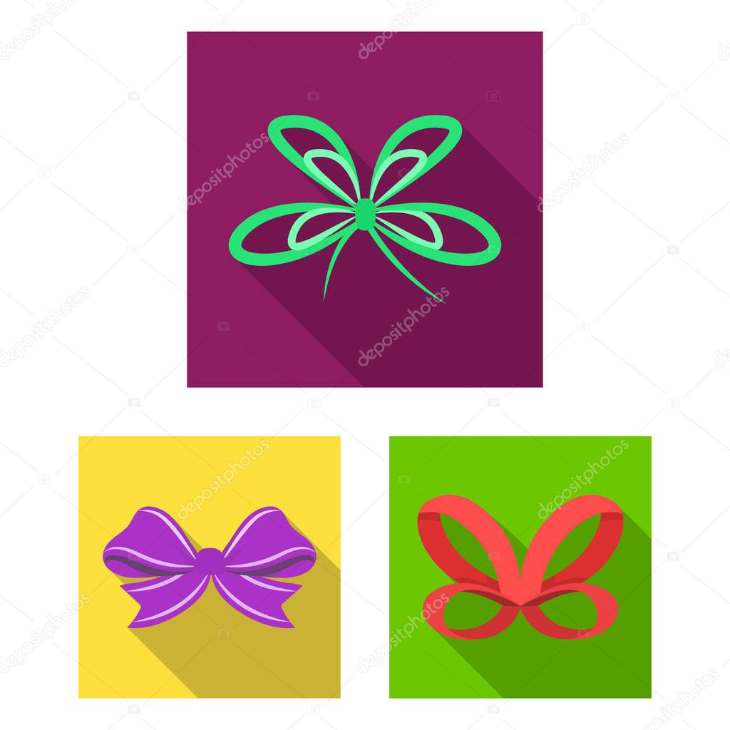 Multicolored bows flat icons in set collection for design.Bow for decoration vector symbol stock web illustration.
