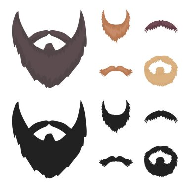 Mustache and beard, hairstyles cartoon,black icons in set collection for design. Stylish haircut vector symbol stock web illustration.