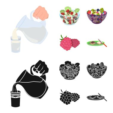 Fruit, vegetable salad and other types of food. Food set collection icons in cartoon,black style vector symbol stock illustration web.