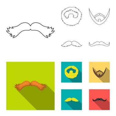 Mustache and beard, hairstyles outline,flat icons in set collection for design. Stylish haircut vector symbol stock web illustration.
