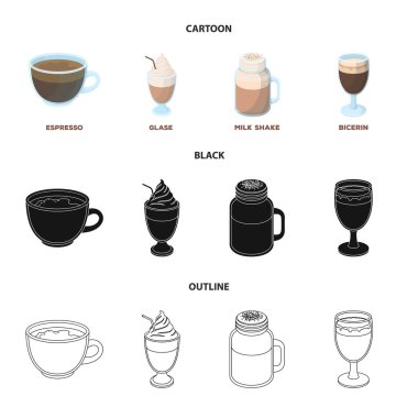 Esprecco, glase, milk shake, bicerin.Different types of coffee set collection icons in cartoon,black,outline style vector symbol stock illustration web.