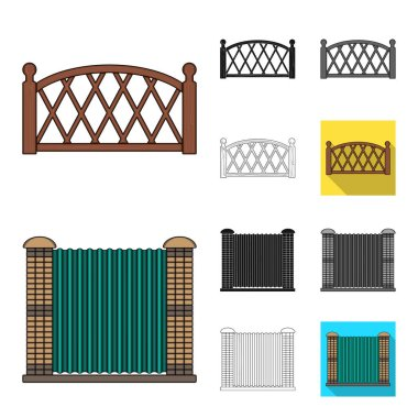 Different fence cartoon,black,flat,monochrome,outline icons in set collection for design.Decorative fencing vector symbol stock  illustration.