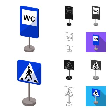 Different types of road signs cartoon,black,flat,monochrome,outline icons in set collection for design. Warning and prohibition signs vector symbol stock web illustration.