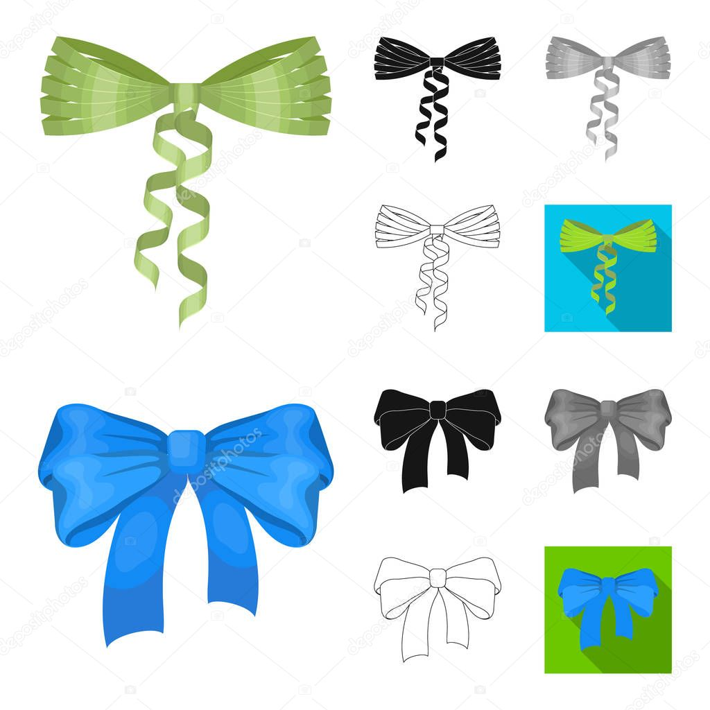 Multicolored bows cartoon,black,flat,monochrome,outline icons in set collection for design.Bow for decoration vector symbol stock web illustration.