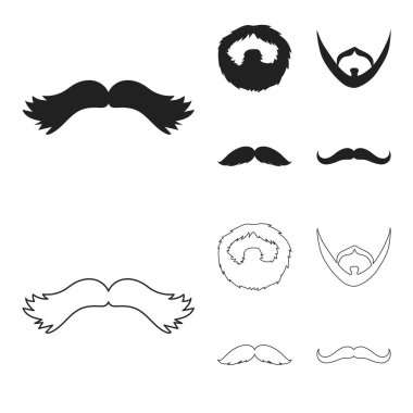 Mustache and beard, hairstyles black,outline icons in set collection for design. Stylish haircut vector symbol stock web illustration.