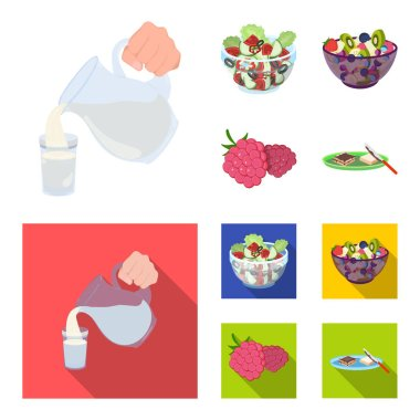 Fruit, vegetable salad and other types of food. Food set collection icons in cartoon,flat style vector symbol stock illustration web.
