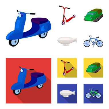 Motorcycle, scooter, armored personnel carrier, aerostat types of transport. Transport set collection icons in cartoon,flat style vector symbol stock illustration .