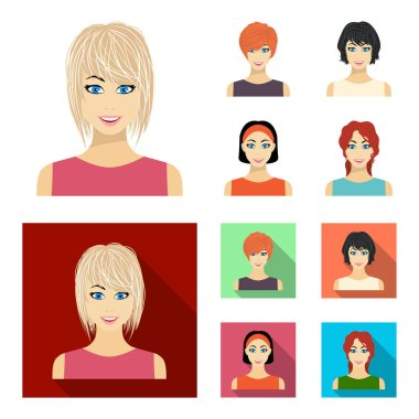 Types of female hairstyles cartoon,flat icons in set collection for design. Appearance of a woman vector symbol stock web illustration.