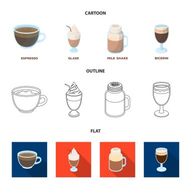 Esprecco, glase, milk shake, bicerin.Different types of coffee set collection icons in cartoon,outline,flat style vector symbol stock illustration web.