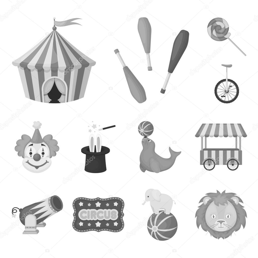 Circus and attributes monochrome icons in set collection for design. Circus Art vector symbol stock web illustration.