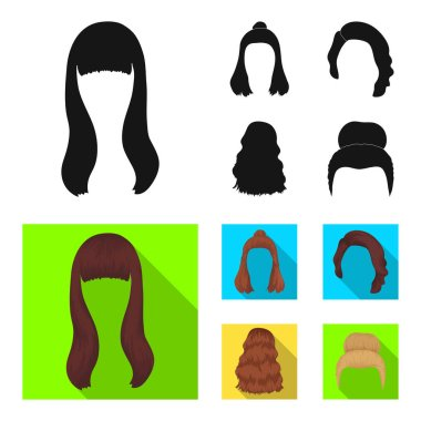 Long, red and other types of hairstyles. Back hairstyle set collection icons in black, flat style vector symbol stock illustration web.