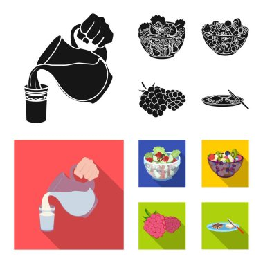 Fruit, vegetable salad and other types of food. Food set collection icons in black,flat style vector symbol stock illustration web.
