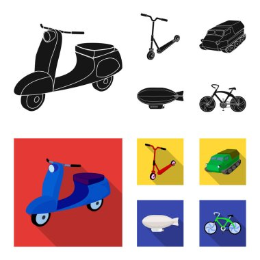 Motorcycle, scooter, armored personnel carrier, aerostat types of transport. Transport set collection icons in black,flat style vector symbol stock illustration web.