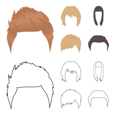 Mustache and beard, hairstyles cartoon,outline icons in set collection for design. Stylish haircut vector symbol stock web illustration.