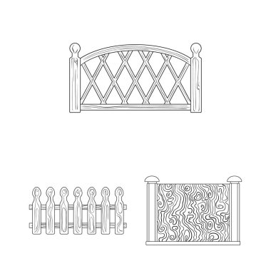 Different fence outline icons in set collection for design.Decorative fencing vector symbol stock web illustration.