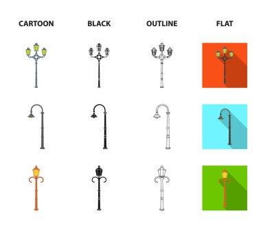 Lamppost in retro style,modern lantern, torch and other types of streetlights. Lamppost set collection icons in cartoon,black,outline,flat style vector symbol stock illustration web.