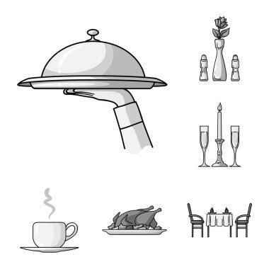 Restaurant and bar monochrome icons in set collection for design. Pleasure, food and alcohol vector symbol stock web illustration.