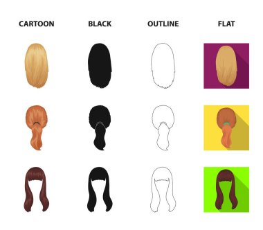 Light braid, fish tail and other types of hairstyles. Back hairstyle set collection icons in cartoon,black,outline,flat style vector symbol stock illustration web.