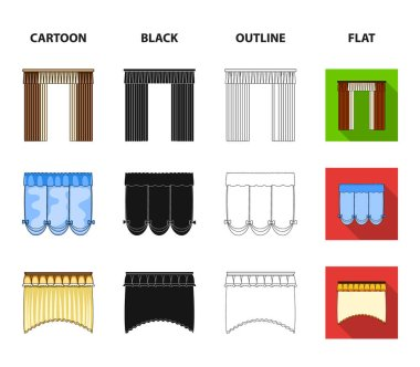 Different types of window curtains.Curtains set collection icons in cartoon,black,outline,flat style vector symbol stock illustration .