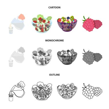 Fruit, vegetable salad and other types of food. Food set collection icons in cartoon,outline,monochrome style vector symbol stock illustration web.