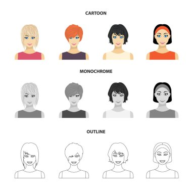 Types of female hairstyles cartoon,outline,monochrome icons in set collection for design. Appearance of a woman vector symbol stock web illustration.