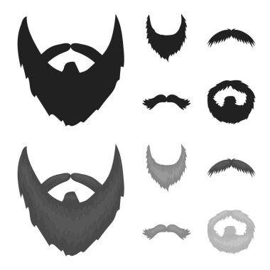 Mustache and beard, hairstyles black,monochrome icons in set collection for design. Stylish haircut vector symbol stock web illustration.